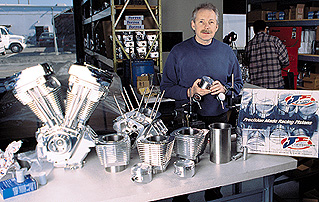 Nigel Patrick with just a few of the billet parts they manufacture.